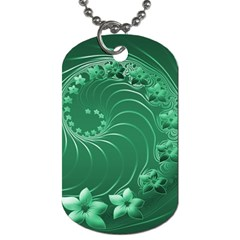Green Abstract Flowers Dog Tag (two Sided)