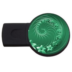 Green Abstract Flowers 2gb Usb Flash Drive (round)