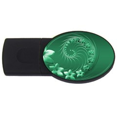Green Abstract Flowers 2gb Usb Flash Drive (oval)