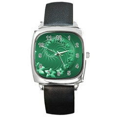Green Abstract Flowers Square Leather Watch