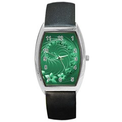 Green Abstract Flowers Tonneau Leather Watch