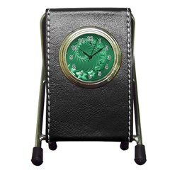 Green Abstract Flowers Stationery Holder Clock