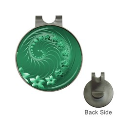 Green Abstract Flowers Hat Clip with Golf Ball Marker