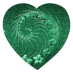 Green Abstract Flowers Jigsaw Puzzle (heart)