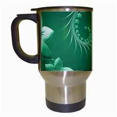 Green Abstract Flowers Travel Mug (White)