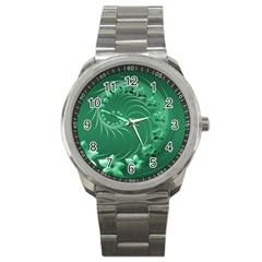 Green Abstract Flowers Sport Metal Watch