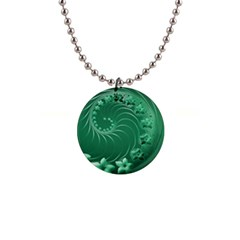 Green Abstract Flowers Button Necklace