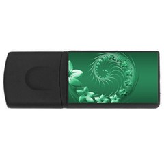 Green Abstract Flowers 4GB USB Flash Drive (Rectangle)