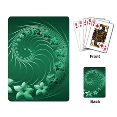 Green Abstract Flowers Playing Cards Single Design