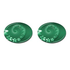 Green Abstract Flowers Cufflinks (Oval)