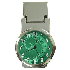 Green Abstract Flowers Money Clip With Watch