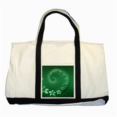 Green Abstract Flowers Two Toned Tote Bag