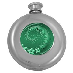 Green Abstract Flowers Hip Flask (round)