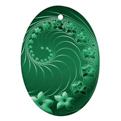 Green Abstract Flowers Oval Ornament (two Sides)