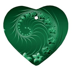 Green Abstract Flowers Heart Ornament (Two Sides)