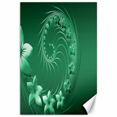 Green Abstract Flowers Canvas 12  x 18  (Unframed)