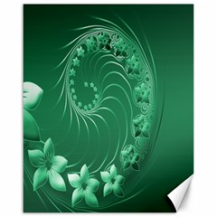 Green Abstract Flowers Canvas 16  X 20  (unframed)
