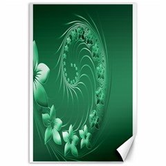 Green Abstract Flowers Canvas 24  X 36  (unframed)
