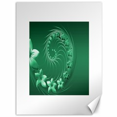 Green Abstract Flowers Canvas 36  x 48  (Unframed)