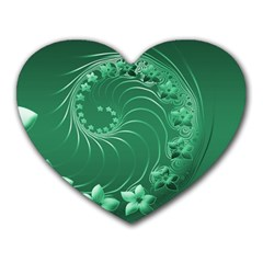 Green Abstract Flowers Mouse Pad (Heart)