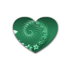 Green Abstract Flowers Drink Coasters 4 Pack (Heart)