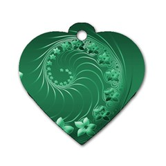 Green Abstract Flowers Dog Tag Heart (Two Sided)