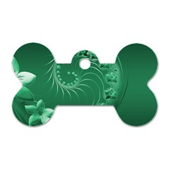 Green Abstract Flowers Dog Tag Bone (One Sided)