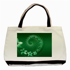 Green Abstract Flowers Twin-sided Black Tote Bag