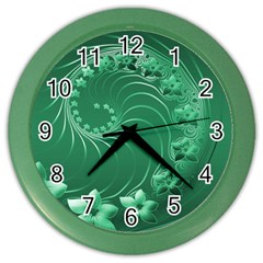 Green Abstract Flowers Wall Clock (Color)