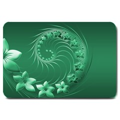 Green Abstract Flowers Large Door Mat