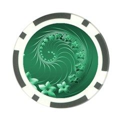 Green Abstract Flowers Poker Chip