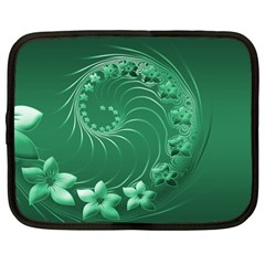 Green Abstract Flowers Netbook Case (Large)