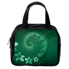 Green Abstract Flowers Classic Handbag (One Side)