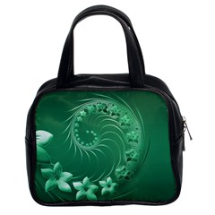 Green Abstract Flowers Classic Handbag (Two Sides)