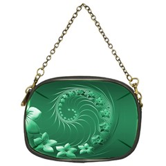 Green Abstract Flowers Chain Purse (One Side)