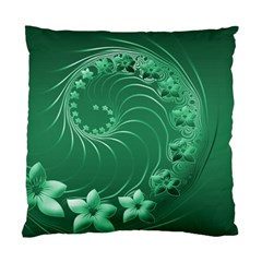 Green Abstract Flowers Cushion Case (Two Sides)