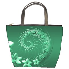 Green Abstract Flowers Bucket Bag