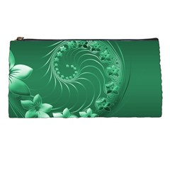Green Abstract Flowers Pencil Case