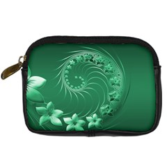 Green Abstract Flowers Digital Camera Leather Case