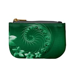 Green Abstract Flowers Coin Change Purse