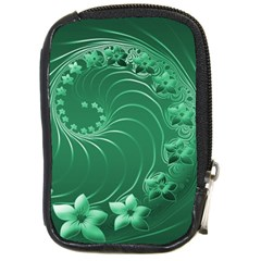Green Abstract Flowers Compact Camera Leather Case