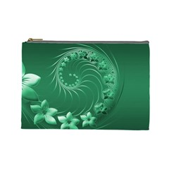 Green Abstract Flowers Cosmetic Bag (Large)