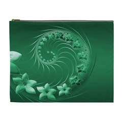 Green Abstract Flowers Cosmetic Bag (XL)