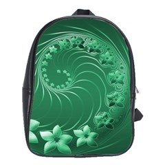 Green Abstract Flowers School Bag (Large)