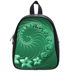 Green Abstract Flowers School Bag (small)