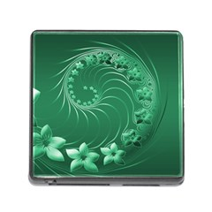 Green Abstract Flowers Memory Card Reader with Storage (Square)