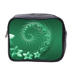 Green Abstract Flowers Mini Travel Toiletry Bag (Two Sides)