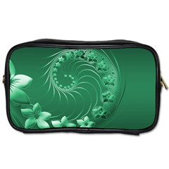 Green Abstract Flowers Travel Toiletry Bag (One Side)