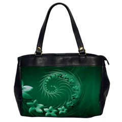 Green Abstract Flowers Oversize Office Handbag (One Side)
