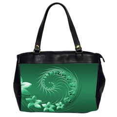Green Abstract Flowers Oversize Office Handbag (Two Sides)